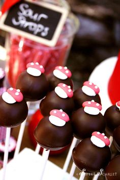 Cake pops at a Little Red Riding Hood Woodland Party with So Many Really Cute Ideas via Kara's Party Ideas | KarasPartyIdeas.com #BigBadWolf #Party #Ideas #littleredridinghood #woodland #cakepops #mushroom