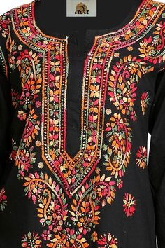 Embroidery On Kurtis, Kurti Embroidery Design, Hand Embroidery Videos, Flower Embroidery Designs, Hand Embroidery Stitches, Embroidery Fashion, Embroidery Dress, Indian Reception Outfit, Punjabi Suits Party Wear