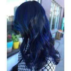 Dark Blue Hair ❤ liked on Polyvore featuring hair