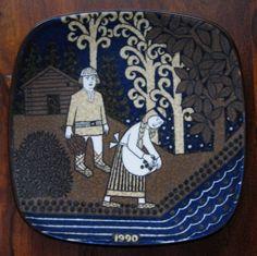 Items similar to 1990 Arabia Finland Kalevala annual plate designed by Raija Uosikkinen on Etsy Plate Design, Helsinki, Finland, Scandinavian, Porcelain, Plates, Ceramics, Tableware, Modern