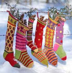 PDF Knitting patterns for fun, multi-colored Christmas stockings