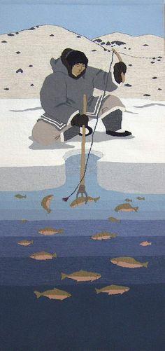 Uqqurmiut: About the Pangnirtung Tapestry Studio  #tapestry #weaving .....Kakivak Fishing 2008 Andrew Qappik/Igah Etuangat