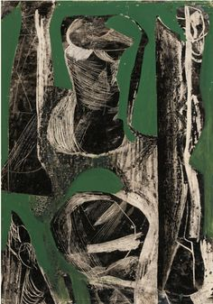 Painting by Peter Lanyon (1918-1964), 1952, Fossil, offset drawing with oil on paper, Gillian Jason Gallery, London.
