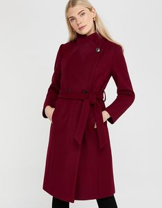 With a smart, long-line silhouette and a warm wool blend, our Rita wrap collar long coat is a cold weather essential. Langer Mantel, Style Finder, Line Shopping, Monsoon, Cold Weather, Double Breasted, Wool Blend, Burgundy, Stylish