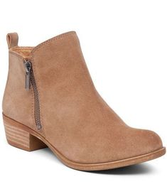 Lucky Brand Basel Zip Suede Booties  Dillards Flat Leather Boots 27a25af3ab