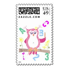 Owl teacher postage stamps postage