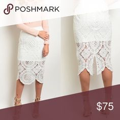 Sale! White lace skirt! NWT white lace skirt to the knees. Perfect for summer! Similar to for love and lemons styles. Let me know if you have any other questions. Fabric is stretchy so it fits various styles. October love Skirts Pencil