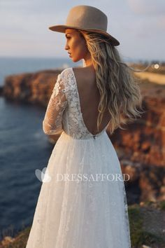 Wedding dress 'ESTEL' / Classical style lace wedding dress with sleeves and plunging neckline Lace Wedding Dress With Sleeves, Tea Length Wedding Dress, Wedding Gowns, Dresses With Sleeves, Boho Wedding, Dream Wedding, Ethereal Wedding, Classic Wedding Dress, Plunging Neckline