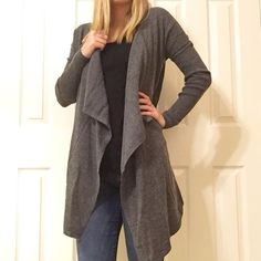 • Charcoal Gray Cardigan • So cute and warm! Features: long sleeve gray cardigan. True to size, I am wearing a small.  Please do not purchase this listing, comment size and I will make a new one  NO TRADES PRICE FIRM 15% BUNDLES Sweaters Cardigans