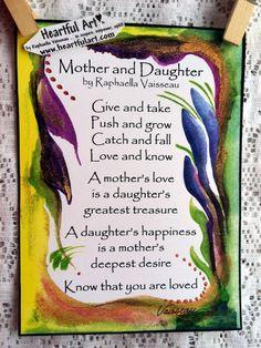 MOTHER DAUGHTER 5x7 Poster Original Poem Inspirational Words Sentimental Family Saying Heartful Art by Raphaella Vaisseau
