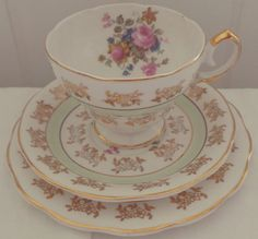 Very Pretty Vintage Green Floral Fine Bone China Tea Set Trio with gold gilting, afternoon tea