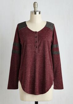 Sport of Call Top in Burgundy - Mid-length, Knit, Red, Grey, Stripes, Print, Buttons, Minimal, Long Sleeve, Fall, Better, Variation, Scoop
