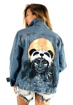 PANDA 4 Hand painted H&M denim jacket by Ana Kuni