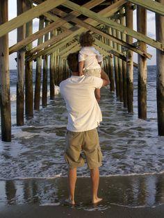 Dad, son, beach