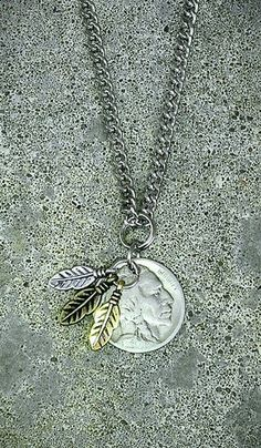 BUFFALO INDIAN NICKEL COIN JEWELRY NECKLACE GOLD SILVER TIBET FEATHER CURB LINK