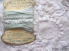 Yarn card on Silk with hand embroidery by Velvet Moth Studio