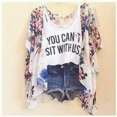 """Shirt And Kimono Type Cardi """"you can't sit with us"""" Mean Girls tank Daily Fashion, Look Fashion, Teen Fashion, Fashion Outfits, Womens Fashion, Fashion Sets, Hipster Fashion, Fasion, Spring Fashion"""