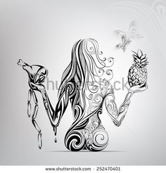 Selection of women between meat and fruit Tribal Tattoos, Body Art Tattoos, Arte Cholo, Virgo Tattoo Designs, Learn To Sketch, Angel Drawing, Exotic Art, Steel Art, Pictures To Draw