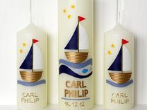 """Set: Taufkerze """"Segelboot"""" und zwei Patenkerzen Candels, Diy Candles, Our Baby, Kids And Parenting, Christening, Diy And Crafts, Candle Holders, Presents, Easter Ideas"""