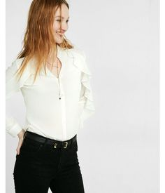 77f21729efd17d Slim Fit Ruffle Sleeve Portofino Shirt White Women s X Small