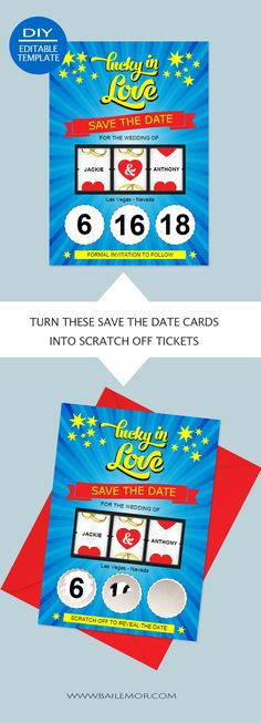 DIY Save the date scratch off lottery tickets. DIY Save the date scratch off lottery tickets. Save The Date Scratch Off, Scratch Off Tickets, Diy Save The Dates, Scratch Off Cards, Save The Date Cards, Engagement Invitations, Wedding Invitations, Invites, Wedding Venue Inspiration