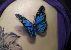 These are the cutest butterfly tattoos you& see! - TKM Chile - These are the cutest butterfly tattoos you& see! Realistic Butterfly Tattoo, Purple Butterfly Tattoo, Butterfly Tattoos For Women, Butterfly Tattoo Designs, Cute Butterfly, Dragonfly Tattoo, 3d Tattoos, Cute Tattoos, Beautiful Tattoos