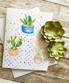 Greeting card and matching gift tag Sweet cacti plants in pots Watercolor Cards, Watercolor Illustration, Cacti, Cactus Plants, Matching Gifts, Sell On Etsy, White Envelopes, Potted Plants, Note Cards