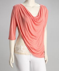 Take a look at this Coral Draped Lace Plus-Size Top by Tua Plus on #zulily today!