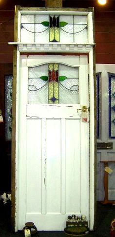 Vtg Antique Art Nouveau Leaded Stained Glass Door Old Frame Transom Window 32 37 #unknown