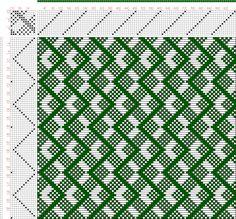 draft image: Figure A Handbook of Weaves by G. Weaving Designs, Weaving Patterns, Mosaic Patterns, Knitting Designs, Knitting Patterns, Inkle Loom, Loom Weaving, Hand Weaving, Willow Weaving