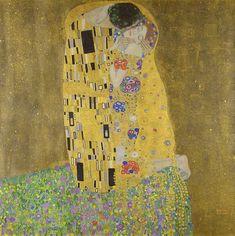 Klimt ~ The Kiss (Lovers), oil and gold leaf on canvas, 1907–1908,  Österreichische Galerie Belvedere, Vienna