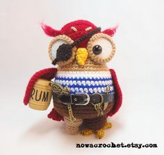 Pirate owl - amigurumi PDF crochet pattern. €5,50, via Etsy. #crochet #pirate
