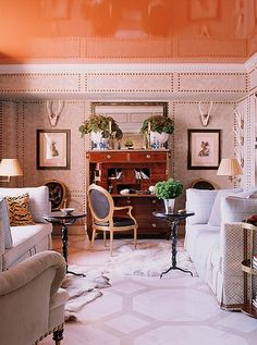 8 Designer Rooms with Gorgeous Painted Ceilings