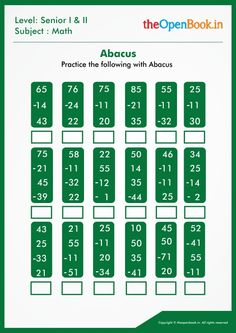 Abacus Math, Math 2, Math For Kids, Worksheets, Training, Architects, Work Out, Education, Countertops