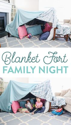 Spending time as a family doesn't have to cost a fortune. This Blanket Fort Family Night is the perfect inexpensive yet fun activity for your family. Grab some blankets, pillows, and a little imagination and get ready to build the best blanket fort ever. Indoor Tent For Kids, Indoor Forts, Kids Tents, Indoor Camping, Play Tents, Homemade Forts, Homemade Blankets, Living Room Fort, Kids Living Rooms
