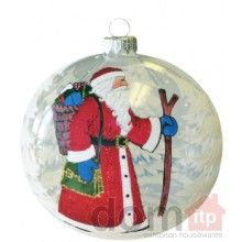 Christmas Tree Ornament - Traveling Santa Claus. 120mm. Hand painted and decorated in Poland.