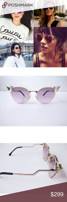 f1832a354f4af9 Fendi crystal tip cat eye sunglasses Brand new! Faceted-crystal tips  sharpen the angular