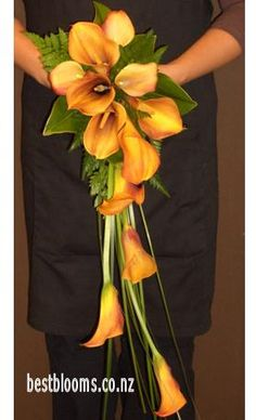 Modern, trailing orange calla lily bouquet