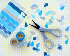 Omiyage Blogs: Washi Tape Rain Drops & Umbrellas Absolutely adorable !