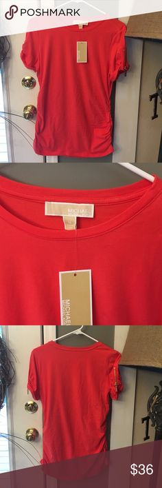 NWT, Michael Kors Coral Top w/ Gold zipper detail Brand new with tags never worn, pic of material in photos. Coral Color, gold zippers with Michael Kors written on sleeves. Chest about 21 inches, length of top about 27 inches.  Women's short sleeve, 100% authentic Michael Kors Tops Blouses