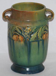 Green Roseville Pottery Baneda vase.