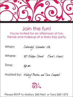 free printable mary kay invitations  invitation templates  mary, invitation samples