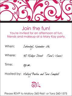 free printable mary kay invitations - invitation templates | mary, Party invitations