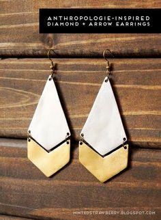 DIY your own Anthropologie-Inspired Diamond + Arrow Earrings @ mintedstrawberry.blogspot.com  #DYaccessory #DIYjewelry #DIYanthropologie
