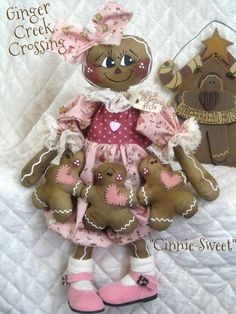"Primitive Gingerbread Doll ""Cinnie Sweet"" w Ginger Ornie Garland Pattern 75   eBay"