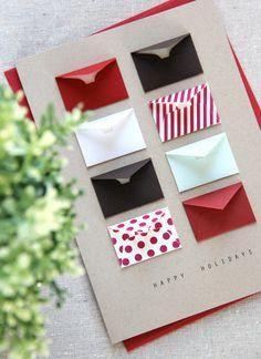 Happy Holidays Tiny Envelopes Card with Custom by LemonDropPapers, $8.00