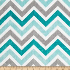 Minky Cuddle Zig Zag Topaz/Charcoal/Snow from @fabricdotcom  This Minky Cuddle Chevron fabric has an extremely soft 3mm pile that's perfect for baby accessories, blankets, throws, pillows and stuffed animals. Colors include teal, topaz, snow white and charcoal.