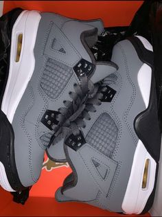 Jordan 4 cool grey on Mercari Cute Nike Shoes, Cute Sneakers, Nike Air Shoes, Shoes Sneakers, Jordan Shoes Girls, Girls Shoes, Nike Air Jordan, Swag Shoes, Aesthetic Shoes