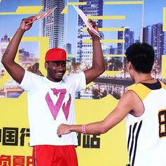John Wall had a good time celebrating with the winner of a dunk contest in Chengdu, China on his #TakeOnSummer tour. #teamadidas