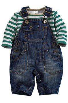 Infant denim overall dress